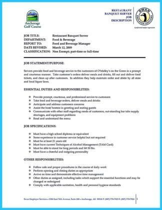 Server On Resume, server resume examples. sample resume for food ...