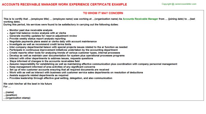 Accounts Receivable Manager Work Experience Certificate