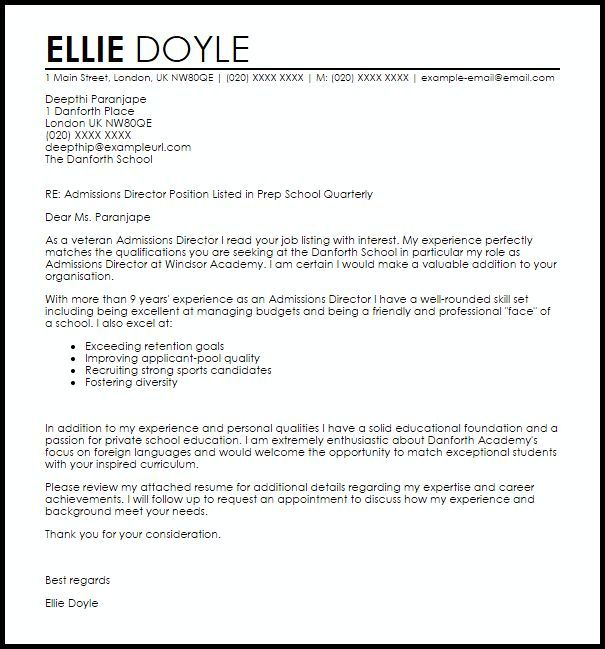 Admissions Director Cover Letter Sample | LiveCareer