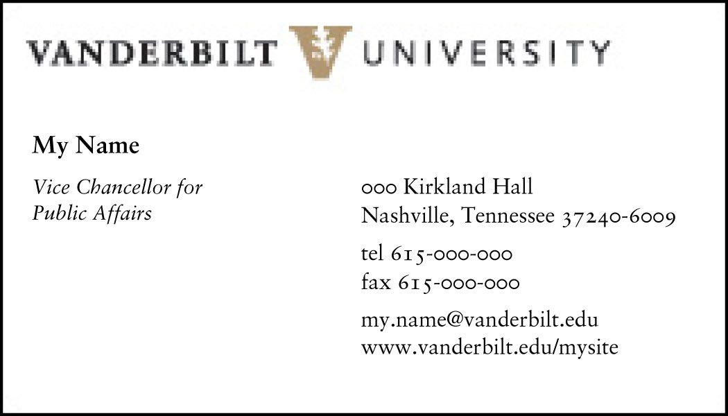 Stationery | Examples | Graphic Standards | Vanderbilt University
