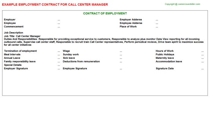 Call Center Manager Employment Contract