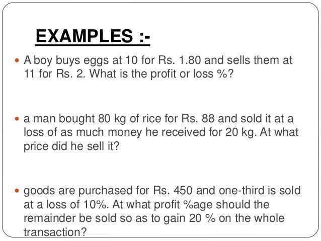 Percentage & profit and loss