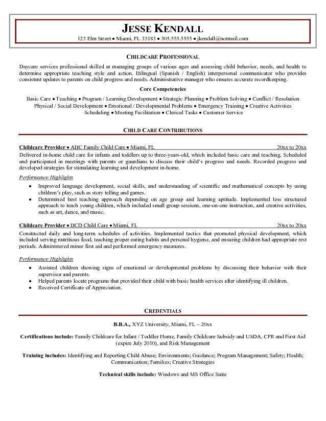 sample resume child care worker free payslip templates child care ...