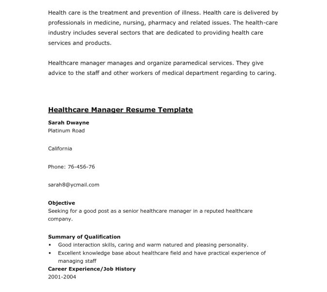 healthcare resume template resume example