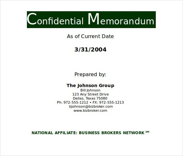 8+ Confidential Memo Templates – Free Sample, Example, Format ...