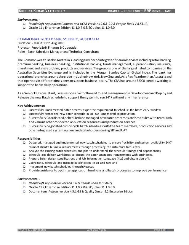 Resume of KrishnaKumar Vattappilly - PeopleSoft Consultant