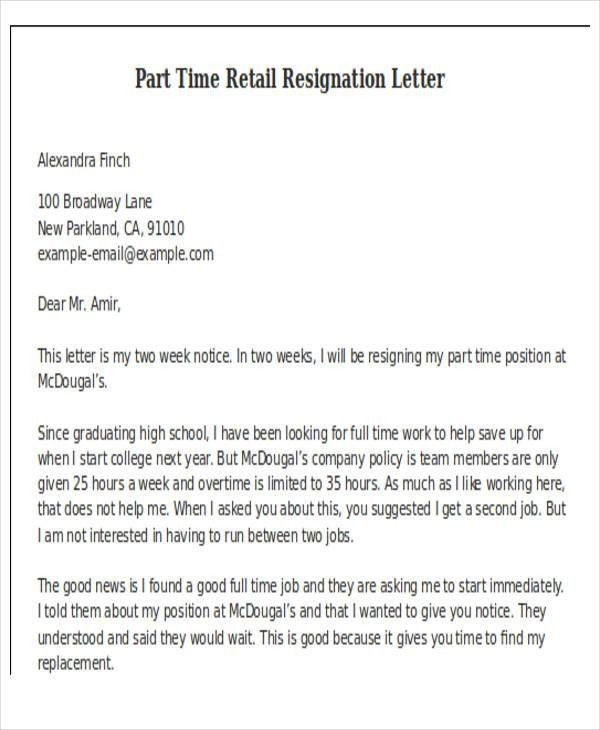10+ Retail Resignation Letter Template - Free Word, PDF Format ...