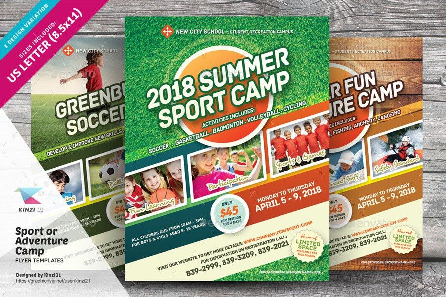 Sport or Adventure Camp Flyers by kinzi21 | GraphicRiver