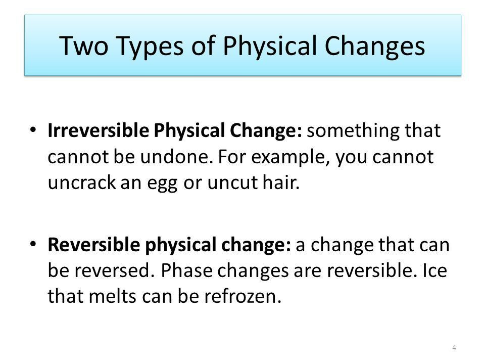 Changes Physical Reversible Irreversible Chemical EXAMPLES? - ppt ...