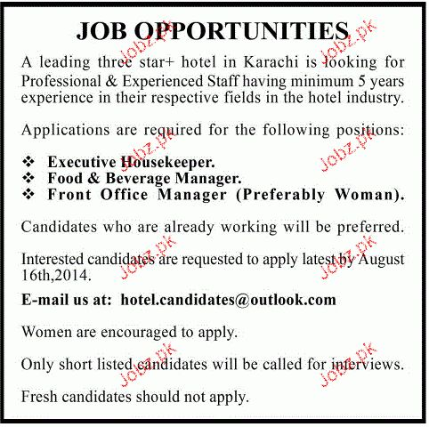 Food & Beverage Managers, Executive Housekeeper Wanted 2017 Jobs ...