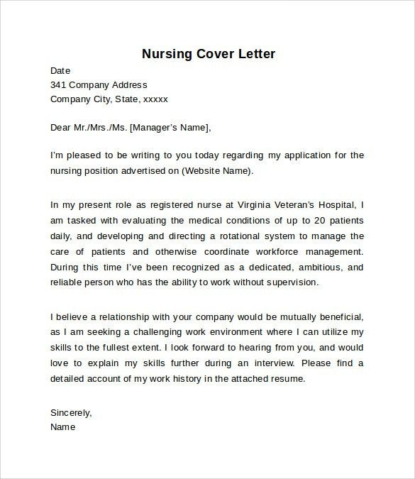 Nursing Cover Letter Example - 10+ Download Free Documents In PDF ...