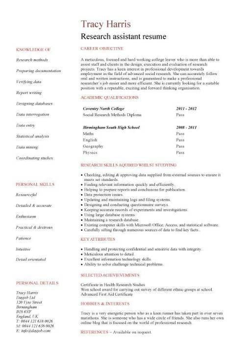 Research assistant CV sample