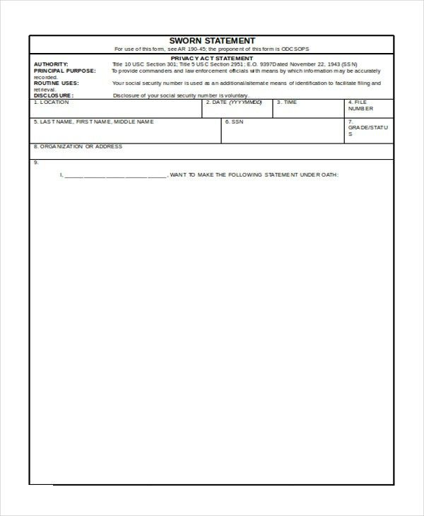 Blank Sworn Statement Sample Sworn Statement Form  Free Documents
