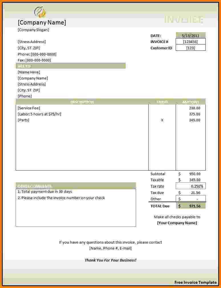 Rent Invoice Template Free. download free rental invoice template ...