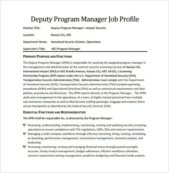 Program Manager Job Description Template – 10+ Free Word, PDF ...