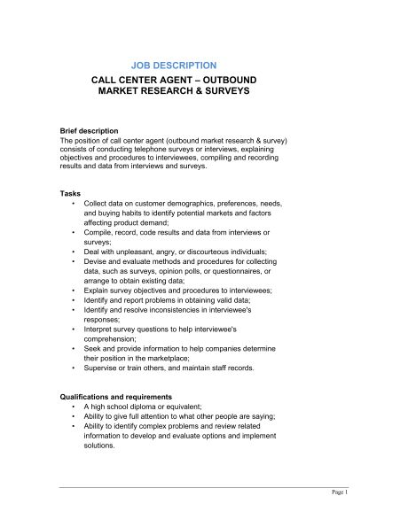 Call Center Agent Outbound_Market Research & Surveys Job ...