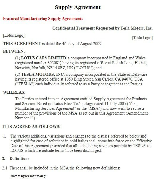 Supply Agreement, Sample Supply Agreement Template | Agreements.org