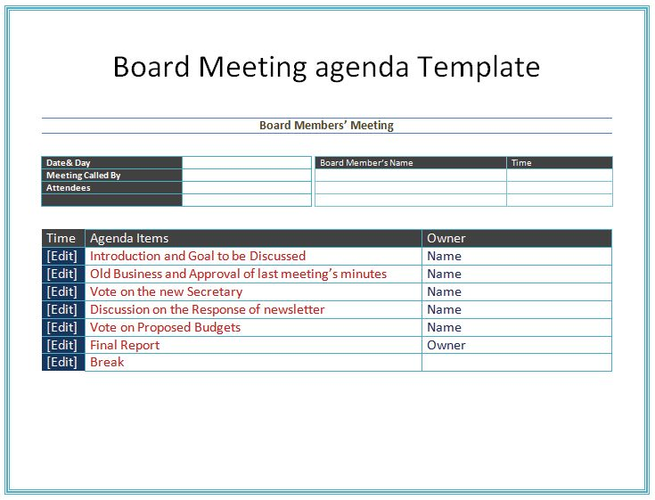 Board Meeting Agenda Template - Easy Agendas