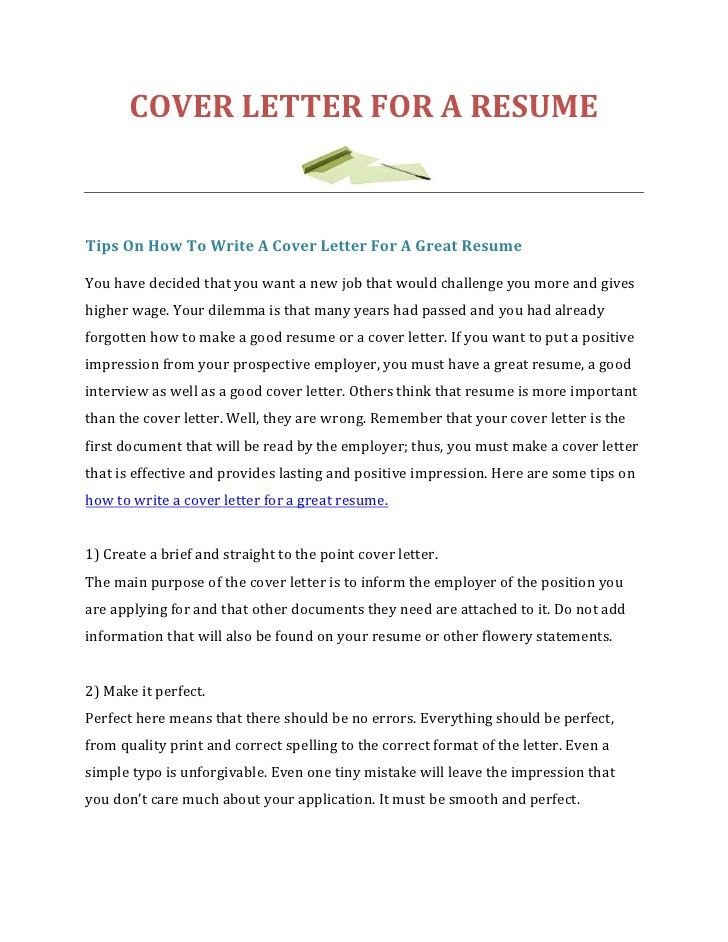 show me a cover letter for a resumes