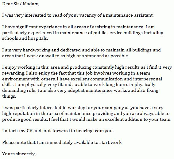 Maintenance Assistant Cover Letter Example - Learnist.org