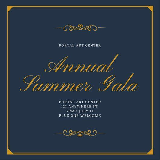 Blue and Yellow Bordered Gala Invitation - Templates by Canva