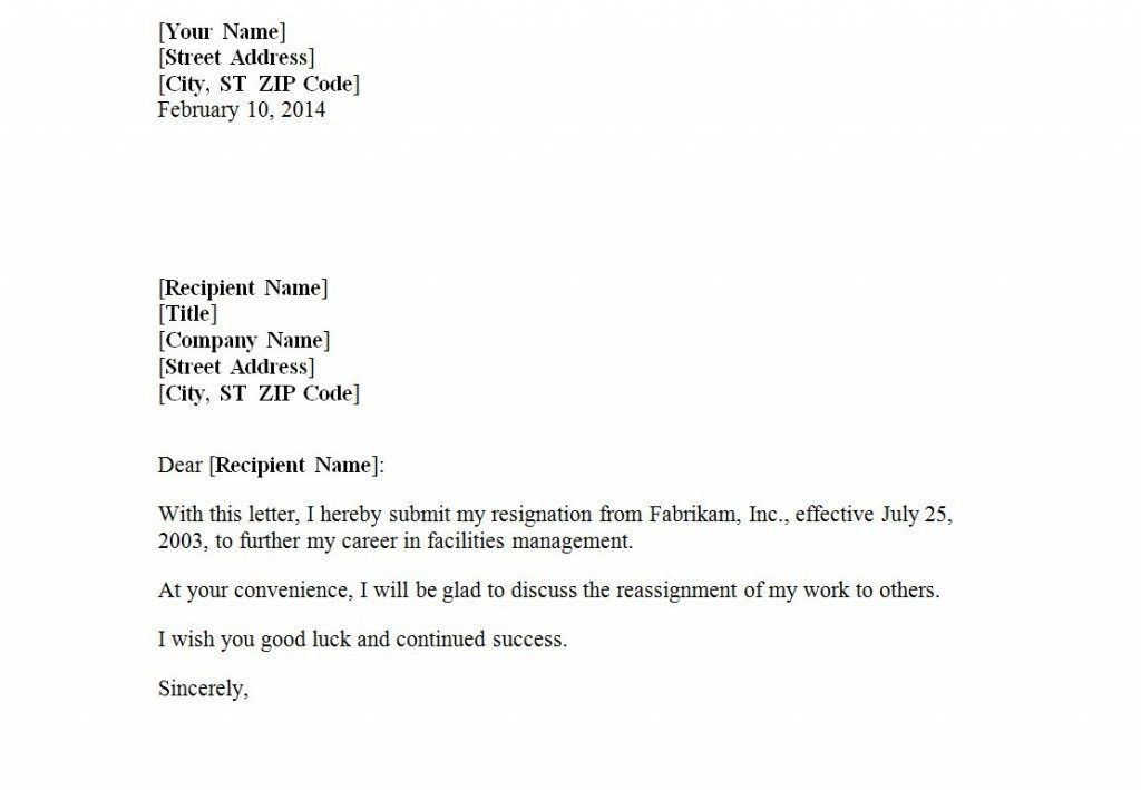 Resignation Letter Format: Submit Form Resignation Letter Example ...