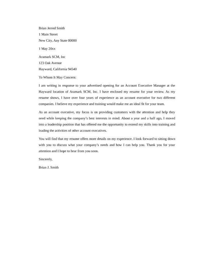 Basic Account Executive Cover Letter Samples and Templates