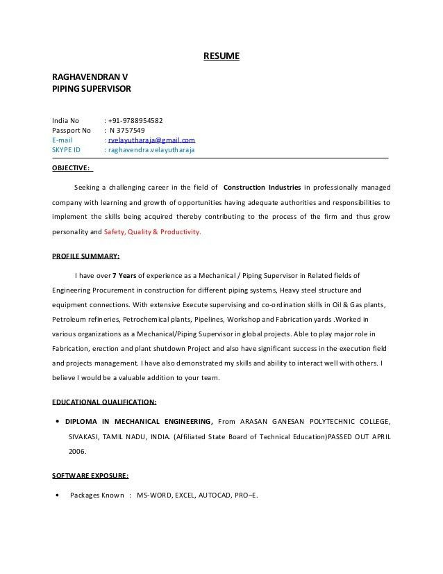 resume objective supervisor construction manager resume page 1