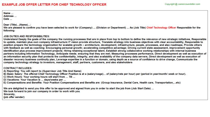 Chief Technology Officer Offer Letters