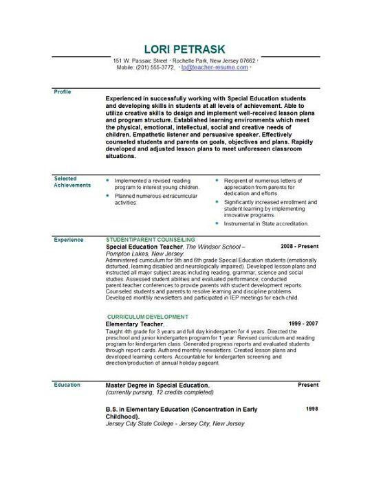 Resume Template Teacher. Teacher And Teacher'S Aide Resume Best ...