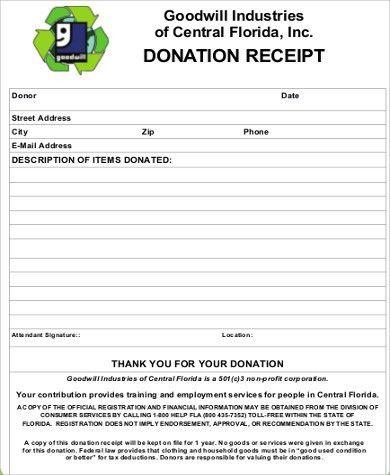Donation Slip Sample] Sample Donation Receipt Template 17 Free ...