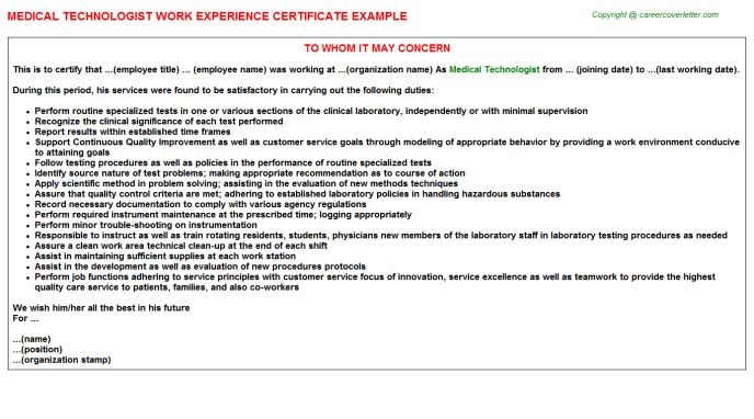 Medical Technologist Work Experience Certificate