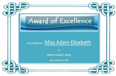 Sample Multicolor Award of Excellence Template | Formal Word Templates