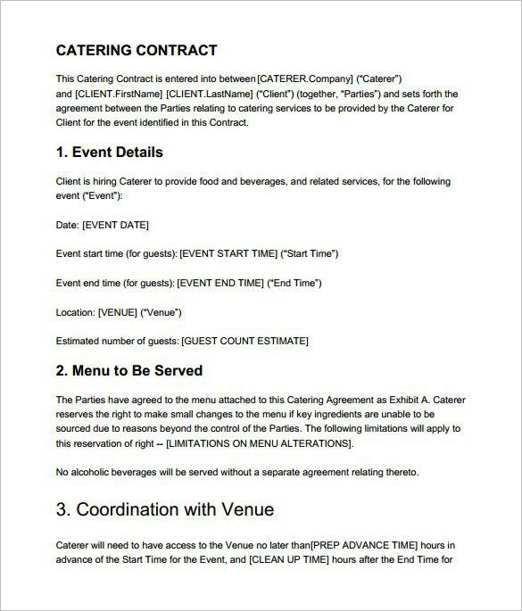 Catering Contract Template Word | Best Template Examples