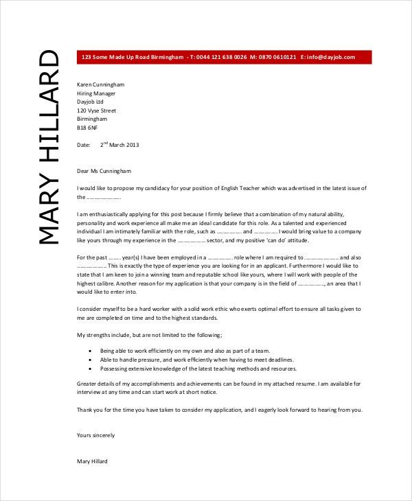 Teacher Cover Letter Example - 9+ Free word, PDF Documents ...