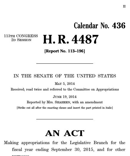 Legislative Branch Appropriations Act, 2015 (2014; 113th Congress ...