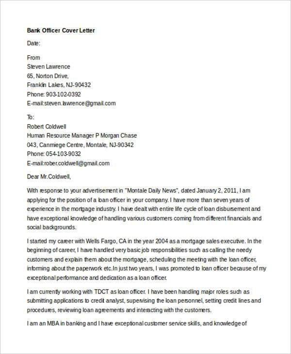 10+ Banking Cover Letter Templates - Sample, Example | Free ...