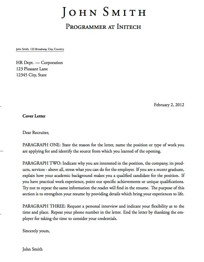 LaTeX Templates » Cover Letters