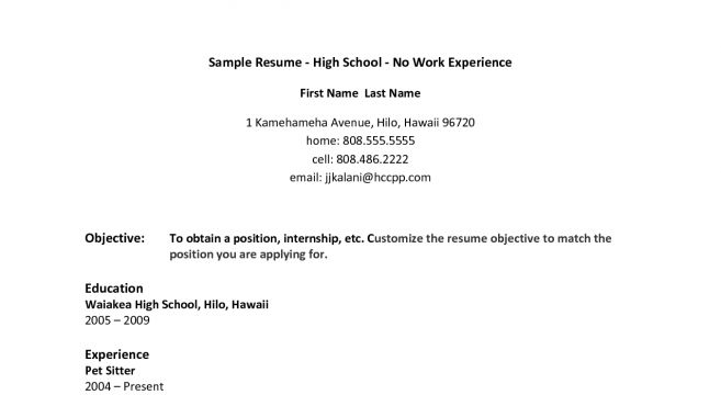 resume template job examples no experience work how to write a ...