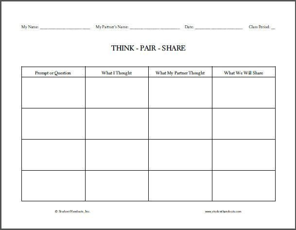 Think, Pair, Share T-Chart Worksheet | Student Handouts