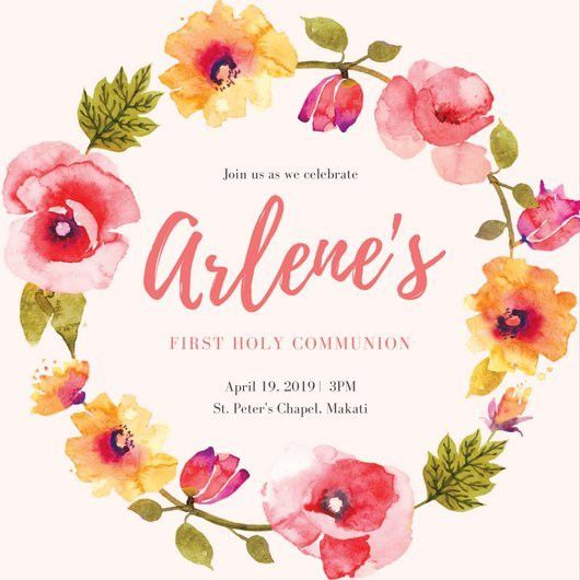 Pink Floral Wreath First Communion Invitation - Templates by Canva