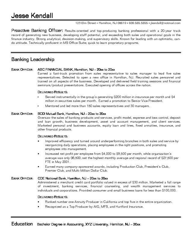 Banking Resume Template. Personal Banker Resume Jvwithmenowcom ...