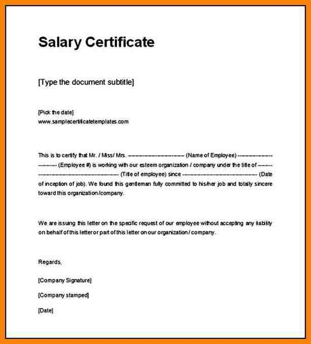 Sample salary certificate letter salary certificate template 28 8 salary certificate sample hr cover letter yadclub Image collections