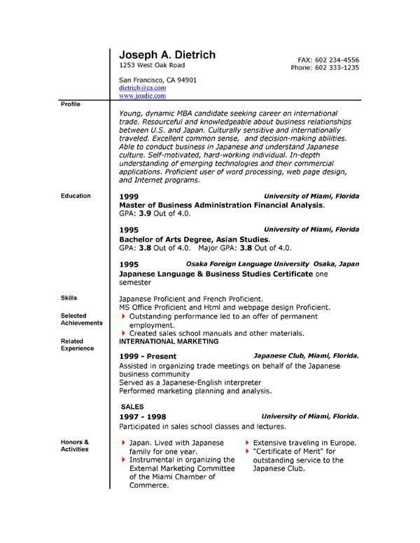 Free Word Resume Template Download. Download Sample Resume Format ...