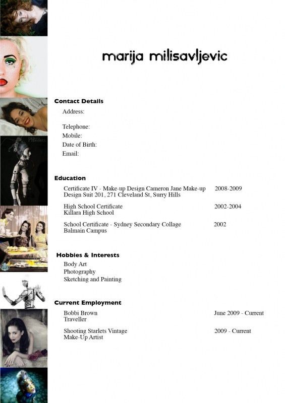Makeup Artist Resume Sle Mac - Mugeek Vidalondon