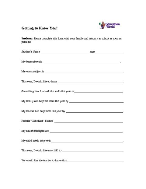 Education World: Student Profile Form Template