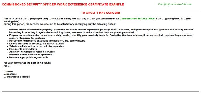 Security Officer F Work Experience Letters
