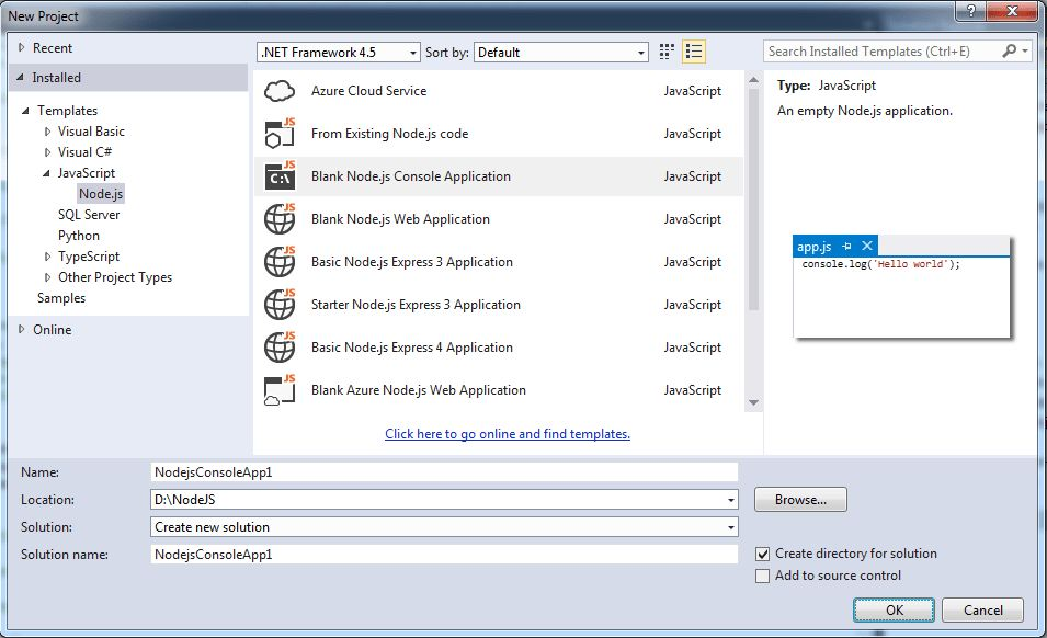 Setup Visual Studio for Node.js Development