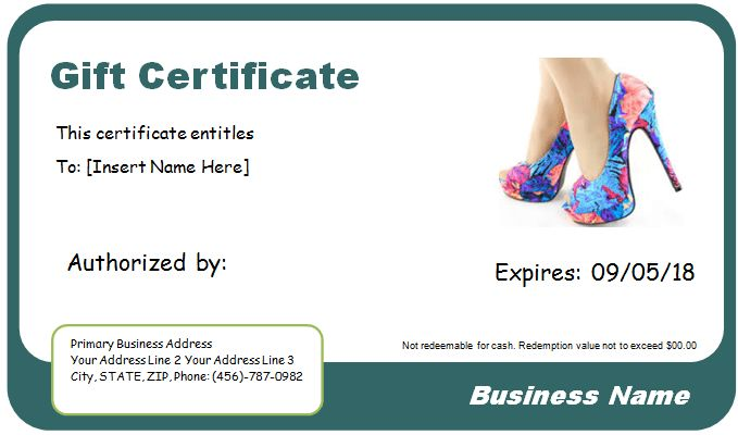 Shoe Shopping Gift Certificate Template for WORD | Document Hub
