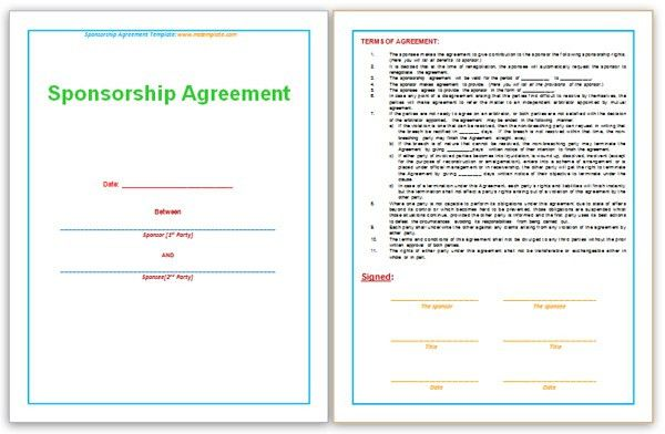 Sponsorship Agreement Template. Sponsorship Agreement Template ...